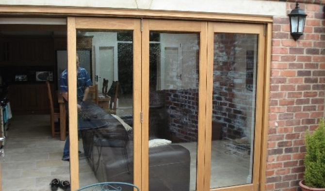 Oak sliding folding door set